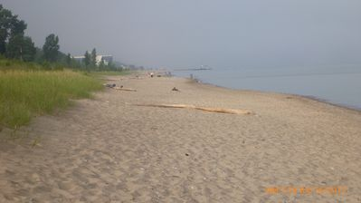Grand Bend cottage rental - Oakwood Park Beach. Grand Bend main beach in the distance.