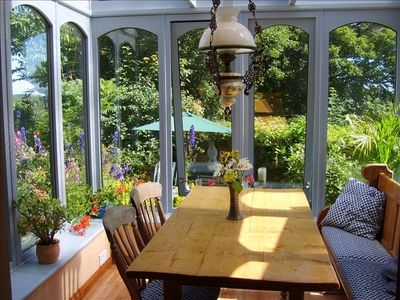 View from dining area in the conservatory.