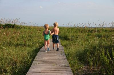 The wonderful walkway to the beach--Grandkids not included
