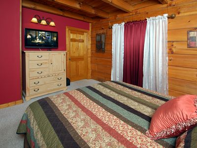 Pigeon Forge cabin rental - Watch TV in bed on this 32 inch LCD TV