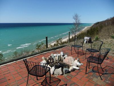 Claybank Township cottage rental - Patio with a firepit and the best views around