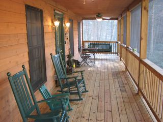 Bryson City cabin photo - Screened front porch overlooking Alarka Creek