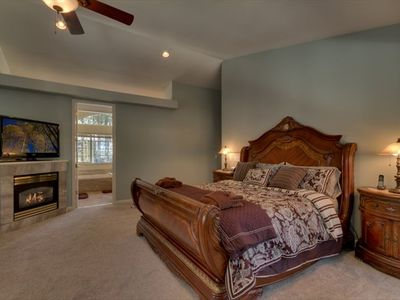 Master suite, has a fireplace and 5 piece bath.