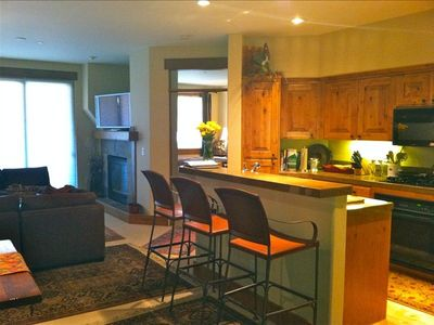 Warm and inviting, well stocked, heated floors, new furniture, and 9' celings.