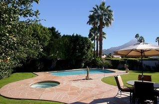 Indian Wells house photo - Pool, spa, outdoor dining -- gorgeous yard and view. Very private.