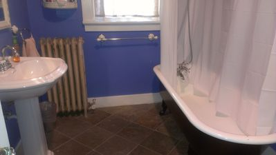 Main level bath with clawfoot tub