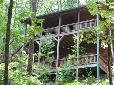 2 Full balconies,Hot Tub on the second Floor of this beautiful secluded Log Home