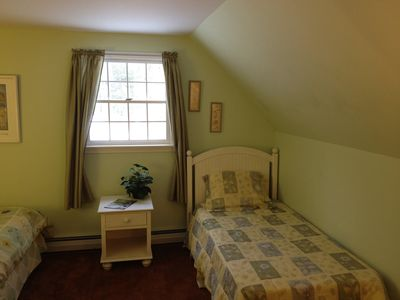 Another view of upstairs bedroom with Queen and twin beds.
