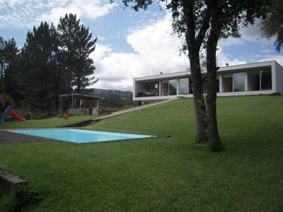 House of modern architecture with private pool and garden