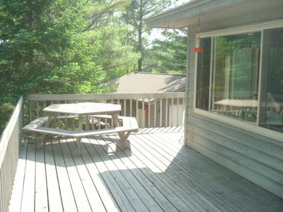View of deck with the picnic table.