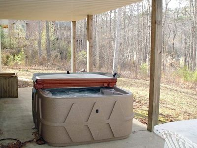 Hot tub with a view of the lake