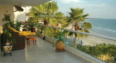 Balcony overlooking pool and the Bay of Banderas
