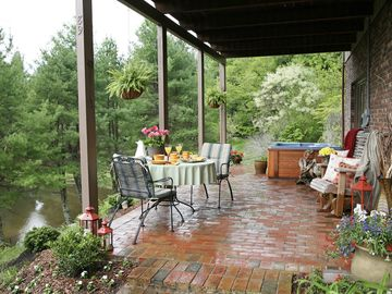 Waynesville bungalow rental - Rest and Relax on the covered patio overlooking pond and mountains