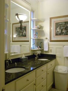 Downstairs guest bath with double sinks, shower, & separate room w/ WC & bidet!