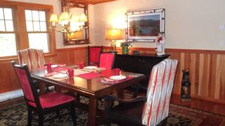 Lake Placid property rental photo - Dining room - with beautiful adirondack features.
