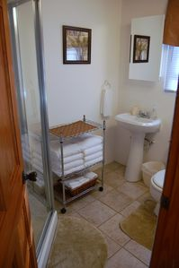 3-piece bathroom, including sink, toilet and standing shower (no tub)