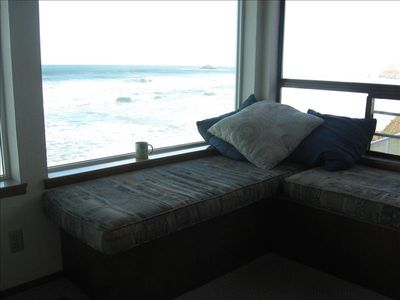 Window seat with ocean front view day or lighting up the ocean at night