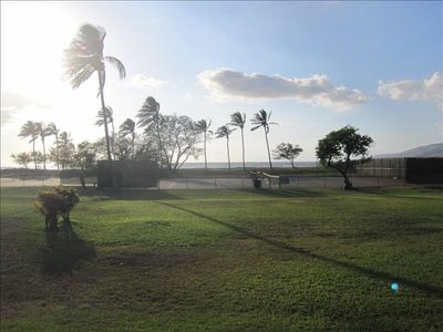 Looking at ocean and tennis courts from Lanai.