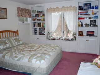 Bar Harbor house photo - Master bedroom with queen size bed and private bathroom with jacuzzi.