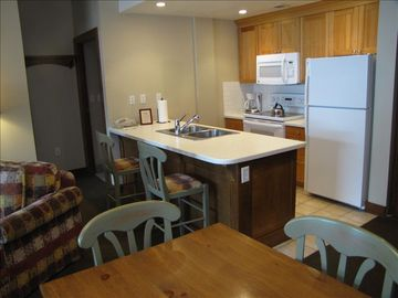 View of Full Kitchen in 1-Bedroom Side of condo