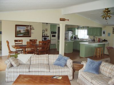 Roomy living room, dining room, and kitchen - plenty of seating for everyone!