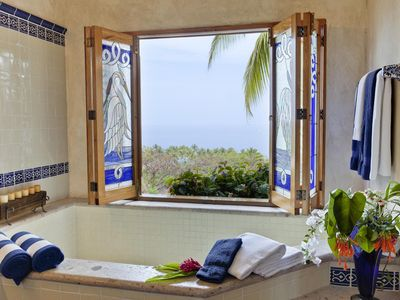 The master bedroom bath with views looking out over the Pacific Ocean.