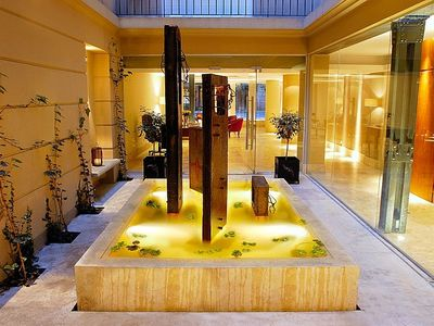 Recoleta apartment rental - Poetry Building interior patio fountain.
