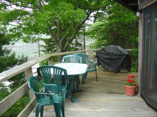 Westport Island cottage photo - Half of the large upper deck