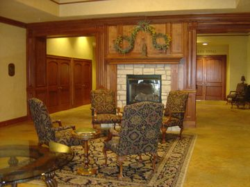 Clubhouse interior. Restaurant located inside.
