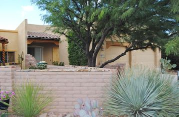 Tubac house rental - Exterior Front with courtyard and 2-car garage