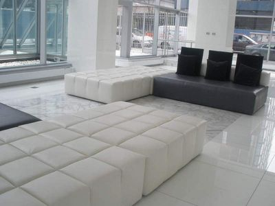 Beautiful white marble lobby.