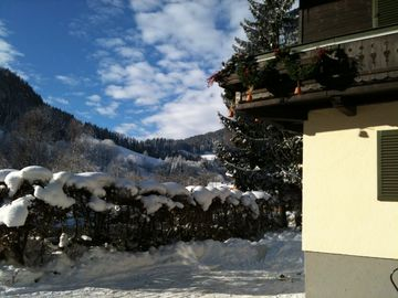 Looking at ski area from the Chalet front garden