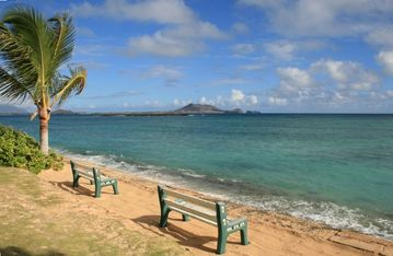Lanikai house rental - View From Beachside Lawn