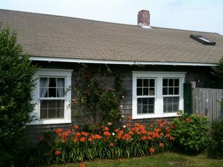 Siasconset cottage photo - 'Sconset cottage in full bloom with climbing roses and lillies