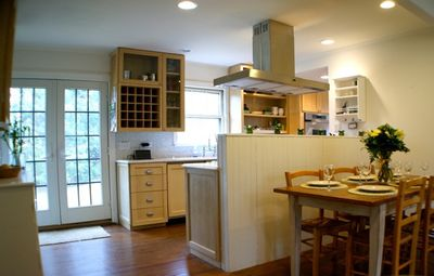 East Hampton cottage rental - kitchen, French doors and dining
