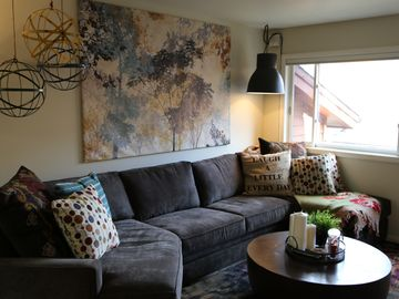 Jackson condo rental - Updated, mountain chic living room.