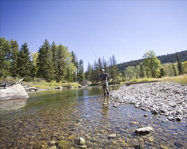 Flyfishing on the Boulder River, about 60 minutes from Blue Moon Cabin