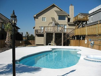 Beachside view looking back at the house & pool w/ overflow spa, crows nest deck