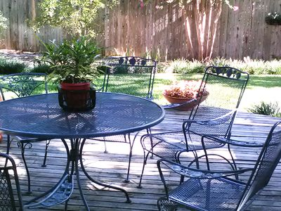Enjoy your morning coffee on the peaceful deck.