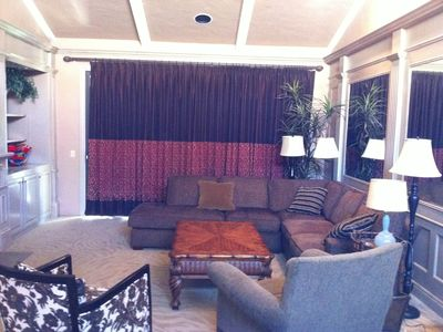 Large living room with flat screen TV and Fire Place - View out on to 1st green