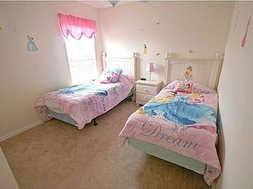 Upstairs Girls Twin Bedroom with Ceiling Fan