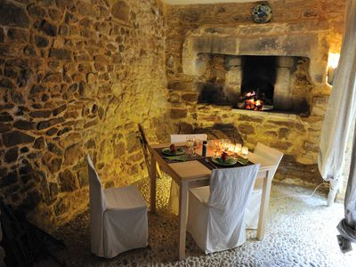 Aigaliers house rental - The old stone baking oven. Perfect for dinner in spring and fall.