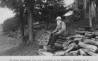 Roxbury farmhouse photo - John Burroughs in front of the Old Home.