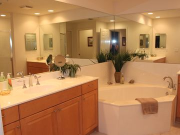 Master Bath Room, nice large tub for relaxing after beach, His and Her's Vanitys