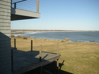 Little Compton house photo - Upper deck off master bedroom, lower deck off kitchen - view of Atlantic Ocean