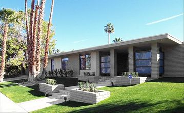Palm Springs house rental - Front of House. Our home is on a corner lot.