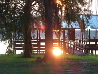 Lake Seminole house photo - Brilliant morning sunshine off extra large dock on Spring Creek Channel