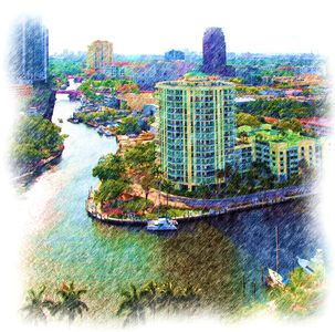 The Esplanade Condominium on the New River at Sailboat Bend - we are on the top.