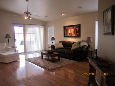 Spacious Family Room with Big Screen HD TV