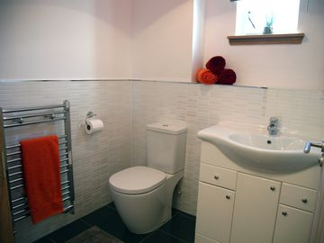 Downstairs cloakroom with toilet and basin
